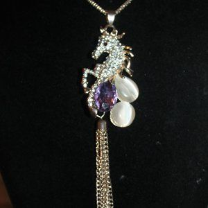 Jewelry - Nwt: Horses: Rearing Horse & Tassel Necklace